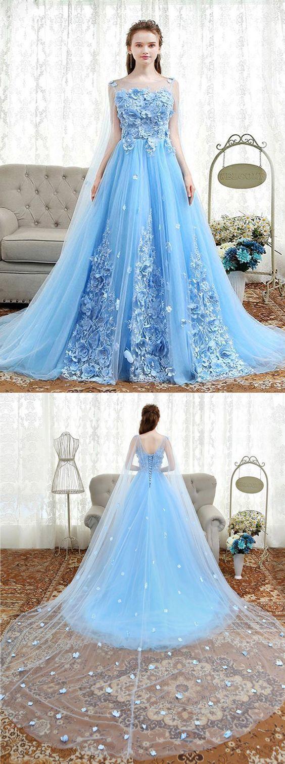 Frische blaue Tüll 3D Spitze Applikationen lange süße 16 Abendkleid, langes Abendkleid   – Fashion