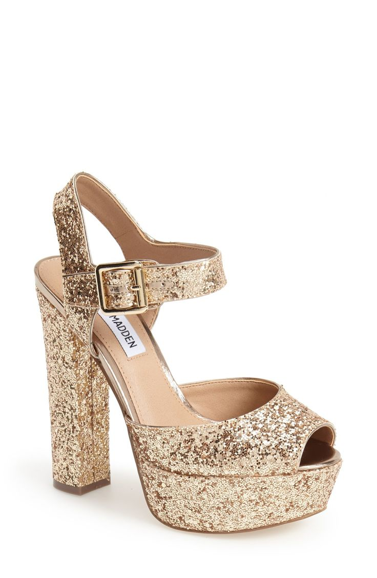 So excited to wear these gold glitter platform sandals out this