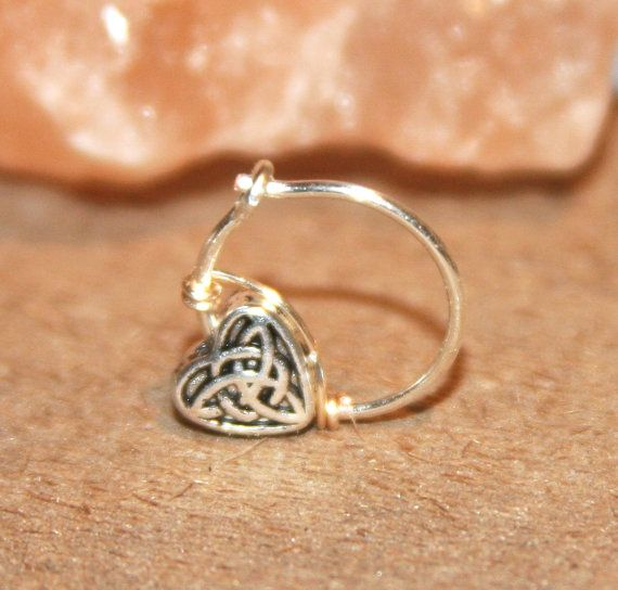 Celtic Heart Cartilage Earrings Heart Charm by BirchBarkDesign, $14.00,   WANT!!!