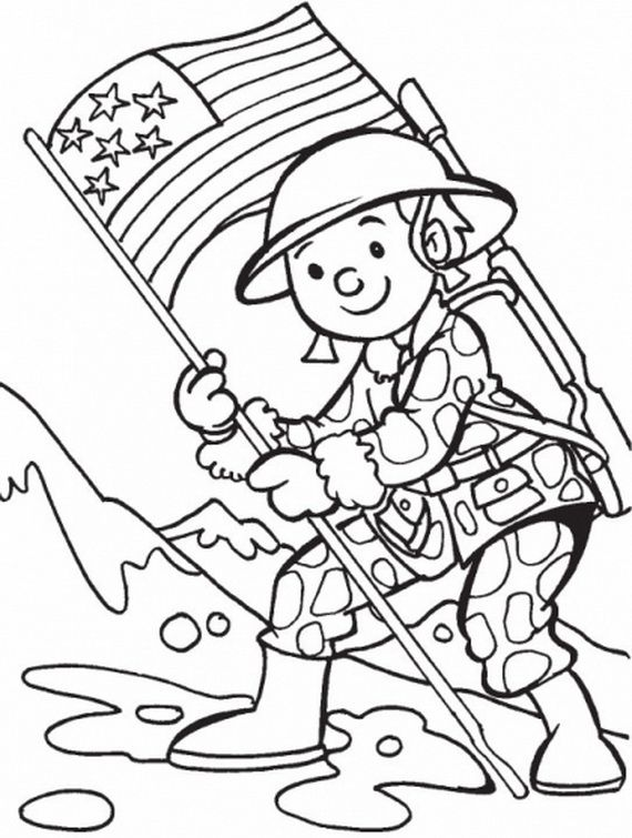 Soldier + American Flag Coloring Sheet #VeteransDay #MemorialDay #PatriotDay #September11 #FourthOfJuly #4thOfJuly #IndependenceDay #ColoringSheets #Soldiers #Flags #AmericanFlags #Patriotic