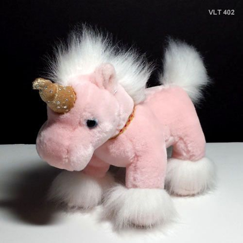 """Unicorn Russ Berrie Animal Light Pink with Gold Sparkle Gold Horn White Mane 7"""""""