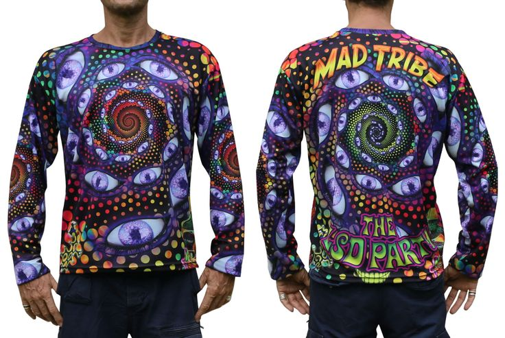 "Sublime L/S T : LSD Party Fully printed long sleeve T shirt. This shirt is an ""All Over"" printed T shirt that will really grab people's attention. The design is printed using sublimation printing on a high quality polyester / Dri-Fit blended shirt. This allows for extremely vibrant colors that will never fade away no matter how many times it gets washed, & results in an extremely soft ""feel"" to the shirt, providing ultimate comfort. Fabric is 100% Polyester/Dri-fit. Artwork by Mad Tribe"
