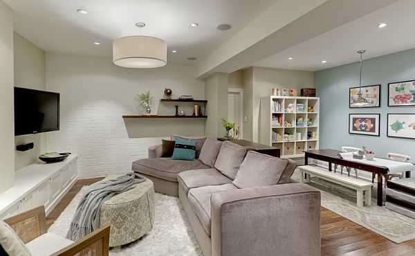 the basement can become anything from a playroom to a bedroom or a man cave.
