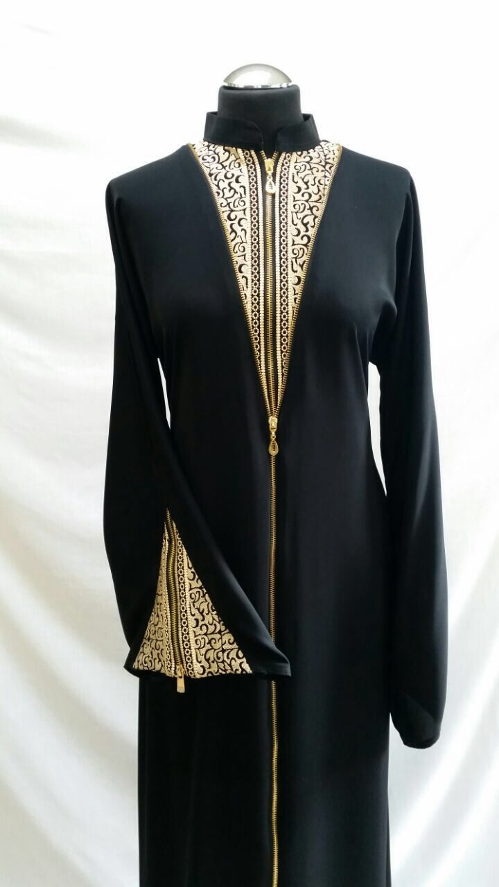 Collared abaya with thread embroidery on neck front and sleeves. New zip style top to bottom. Sizes 56 and 58. Ref:22