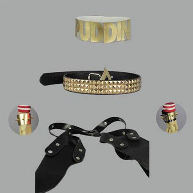 New Batman Suicide Squad Harley Quinn Cosplay Costumes Gun Bag Belt Neck Ring Wristband New #Affiliate