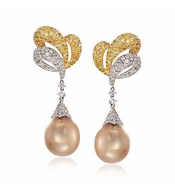 12.5-13mm Golden Cultured South Sea Pearl and Yellow and White Diamond Earrings in 18kt Two-Tone Gold