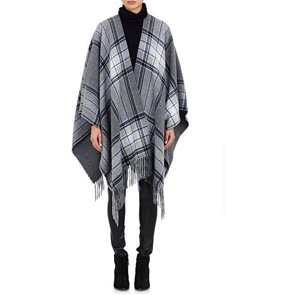 Theory Saiome Poncho ($325) ❤ liked on Polyvore featuring outerwear, colorless, wool poncho, clear poncho, plaid poncho and fringe poncho