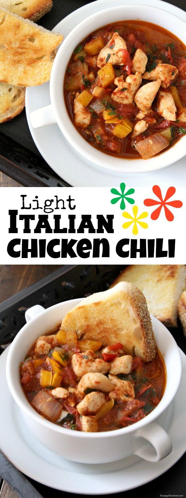 Light Italian Chicken Chili, easy homemade chili recipe with @CountryCrock! SnappyGourmet.com (sponsored)