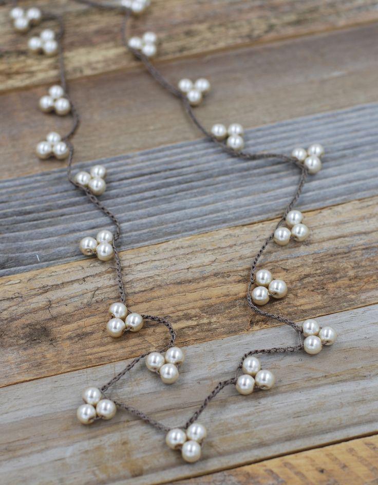 Triple Pearl Long Necklace