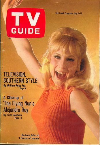 TV Guide #797...Barbara Eden... Jeannie out of the bottle! Barbara Eden was always beautiful no matter what she was wearing.