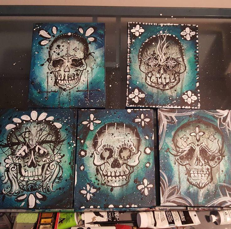 "Aslinn Smith 🎨 on Instagram: ""Finished! #glowinthedark #acrylic #painting of the not so #sugarskull sugar #skulls haha #art #artist #illustration #design…"""