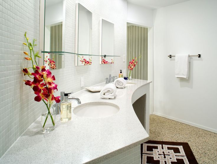 a contemporary remodel of a mid century modern home nice use of tile - Midcentury Bathroom 2016