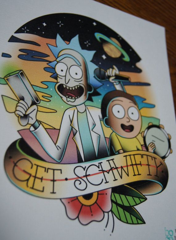You gotta get schwifty. You gotta get schwifty in here.  -Print of tattoo flash inspired by Rick and Morty - 8x10 inches -Reproduction of the original piece which was created with watercolor and digitally. -Printed on high quality 115lb textured canvas paper. -Actual color of print may slightly vary due to ink and computer monitor settings.  Ships first class parcel in a rigid photo mailer with a piece of cardboard for extra support.  ***Please message for international shipping or if you…
