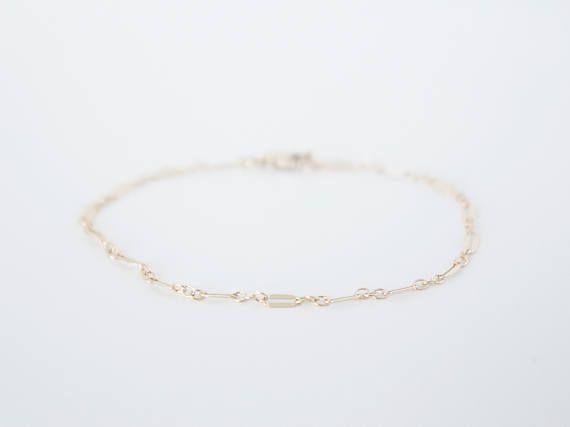 Bracelet Choker Lames de Rasoir Simple Or Rempli 14k /