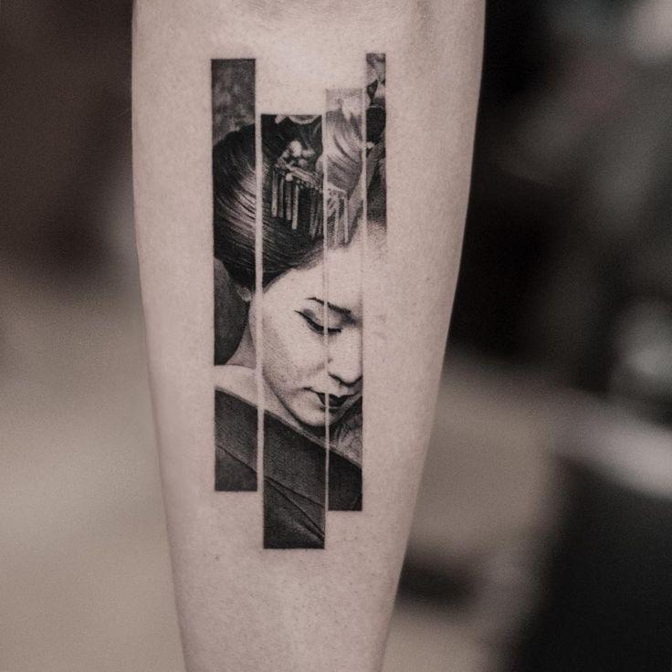 blackwork geisha tattoo by @oscarakermo