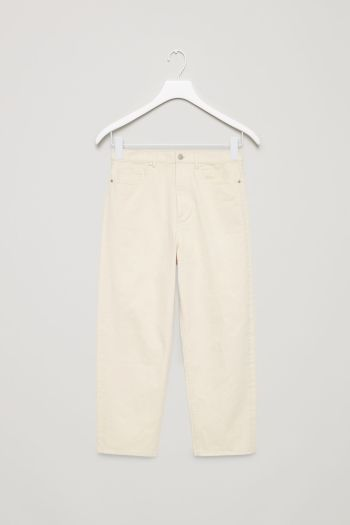COS image 2 of Straight-fit cropped jeans in Vanilla