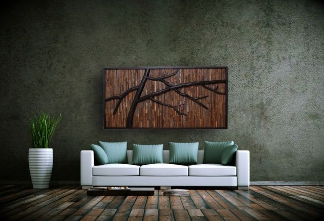 Wohnzimmer Wanddekoration aus wiederverwertetem holz-Zweige weiß Sofa