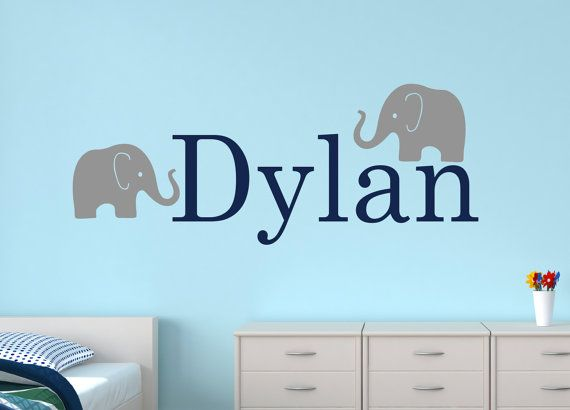 Name Wall Decal   Elephant Wall Decal   Baby Boy Room Decor   Nursery Wall  Decals Vinyl   Elephant Nursery Wall Art Part 66