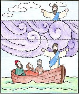 Jesus Calms The Storm Coloring Page Fold To Switch Between Stormy And Clear Skies Printable Template Save Image Your Computer