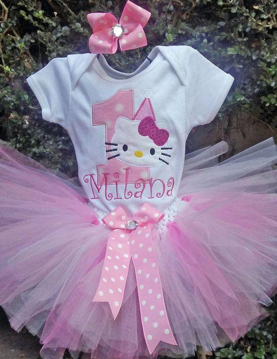 Pink Hello Kitty 1st Birthday Outfit Onesie Tutu FREE Hair Bow