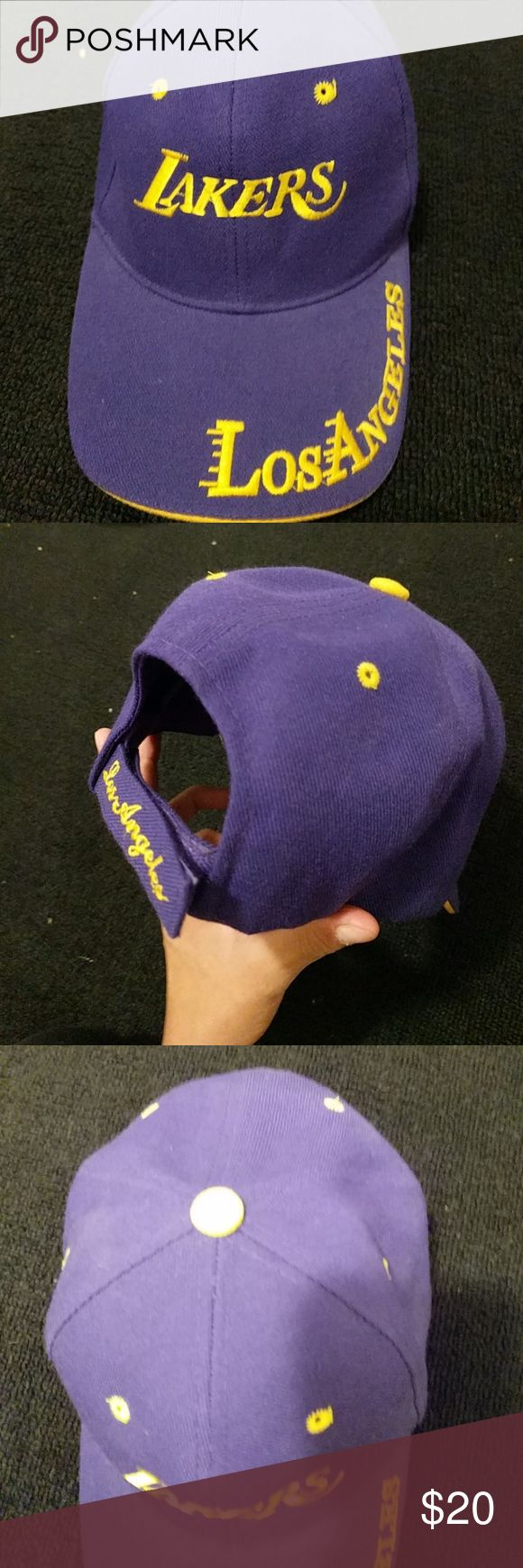 Lakers hat Purple gold with los Angeles stiched on bill of hat Lakers stiched on the front nike Accessories Hats
