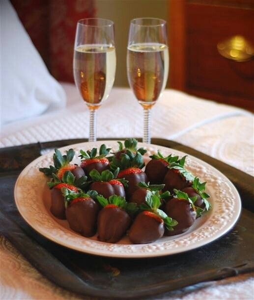 We first enjoyed champagne and strawberries in 1984 together....we still do! Now chocolate covered!