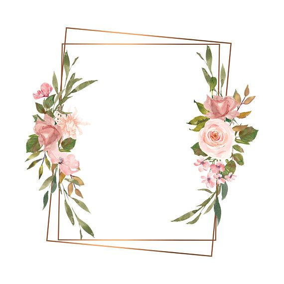 watercolor gold geometric frames blush and gold floral