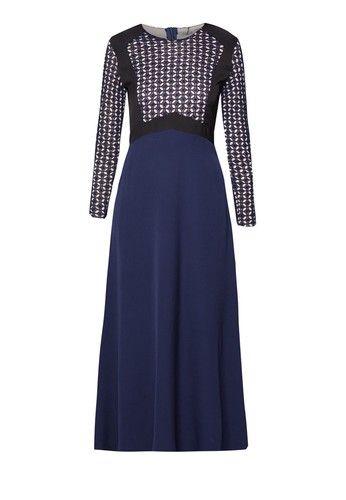 Crochet Lace Blocked Dress from Zalia in navy_6