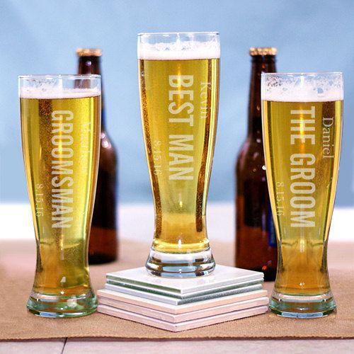 Set of 7 Pilsner Beer Glasses 7 Groomsmen Monogrammed