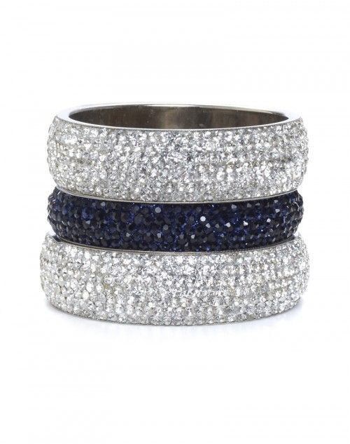 Two wide White Diamond Aura bangles with one skinny Blue Aura bangle. This jewelry always makes the perfect gift for that someone special! Three pieces. www.hamptonbanglecompany.com #bangle #jewelry #accessory #girl #sexy #fashion #stackable #bracelet  #imaginehappy