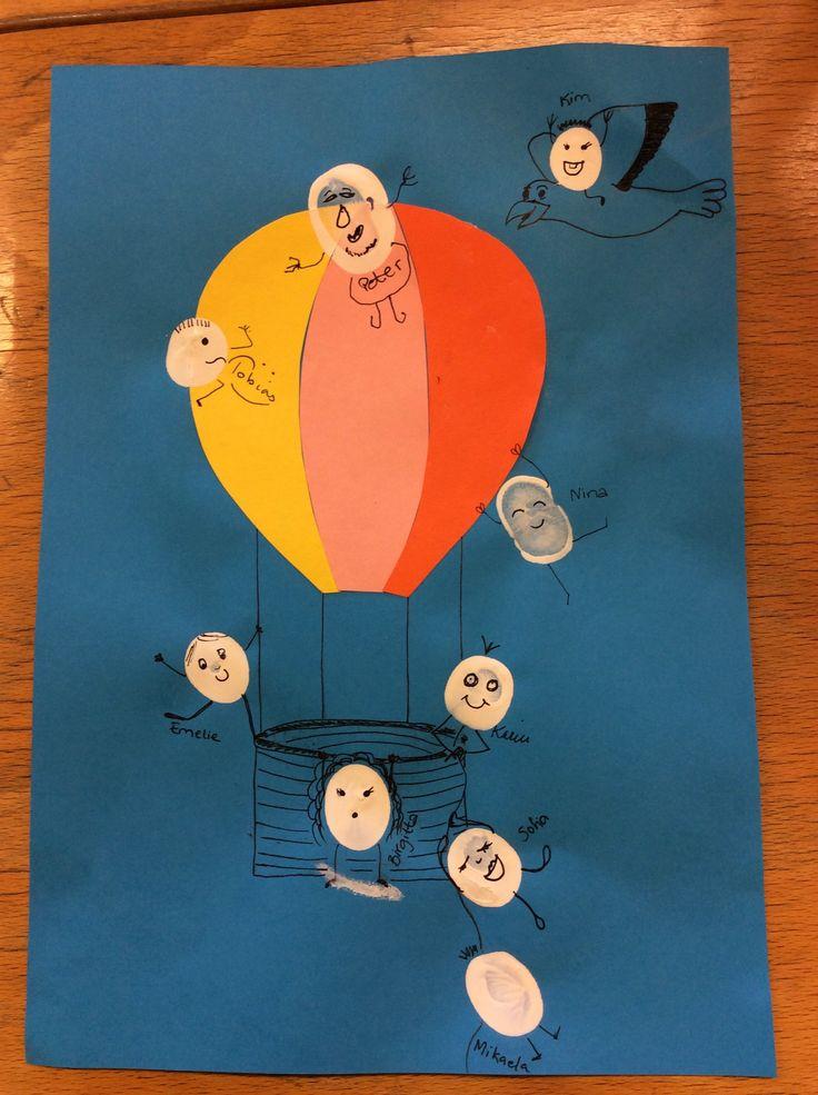 Luftballong och tumtryck blev ett tackkort.
