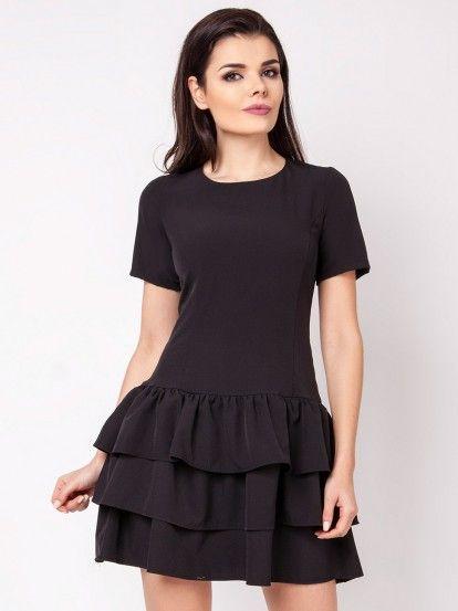 Dámské krátké šaty s volánky FOGGY - černá