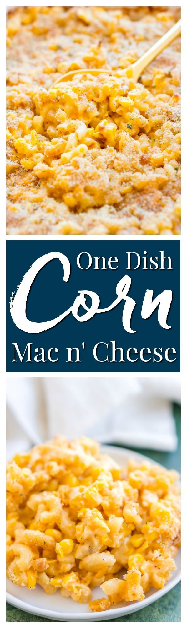 This One Dish Corn Mac n' Cheese has all the comfort you need. Loaded with cheese and sweet corn, it's a pasta dish that's perfect for potlucks and game days. via @sugarandsoulco
