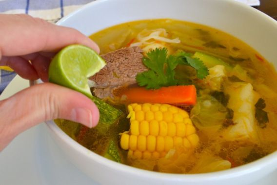 """Caldo de Res. """"You mean it takes more than two hours to make this soup?!  Yes. Dame paciencia Señor."""" CHANGES: 1st brown the meat with onions, garlic, and tomatoes. Then add water & proceed with recipe."""
