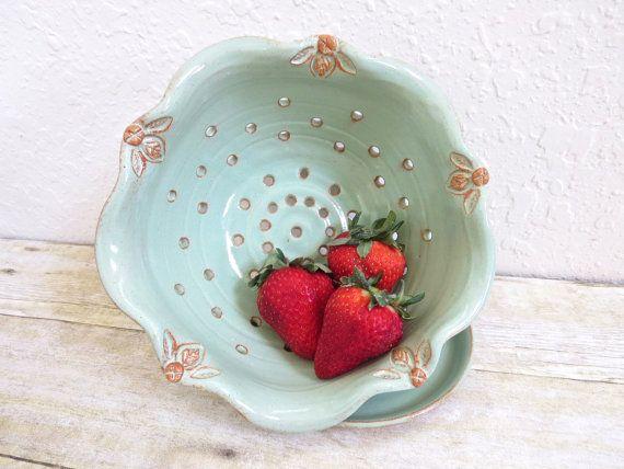 Ceramic Berry Bowl Fluted Strainer Colander by MyMothersGarden, $51.00