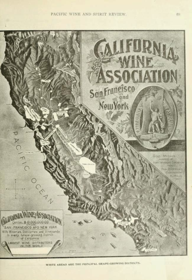 A map of the holding of the California Wine Association,