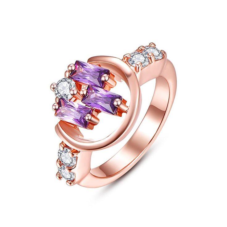 Women purple amethyst quartz stone ring, 2 gram gold ring fashion vintage gold semi-precious stone jewelry