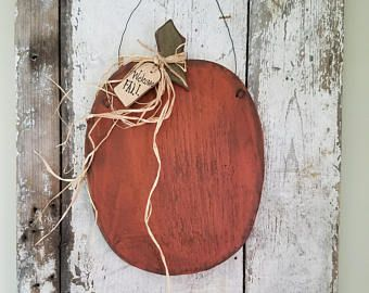 Large Pumpkin, Primitive Fall Decor, Country Fall Decor, Halloween Decor, Primitive Halloween, Rustic Halloween, Happy Fall