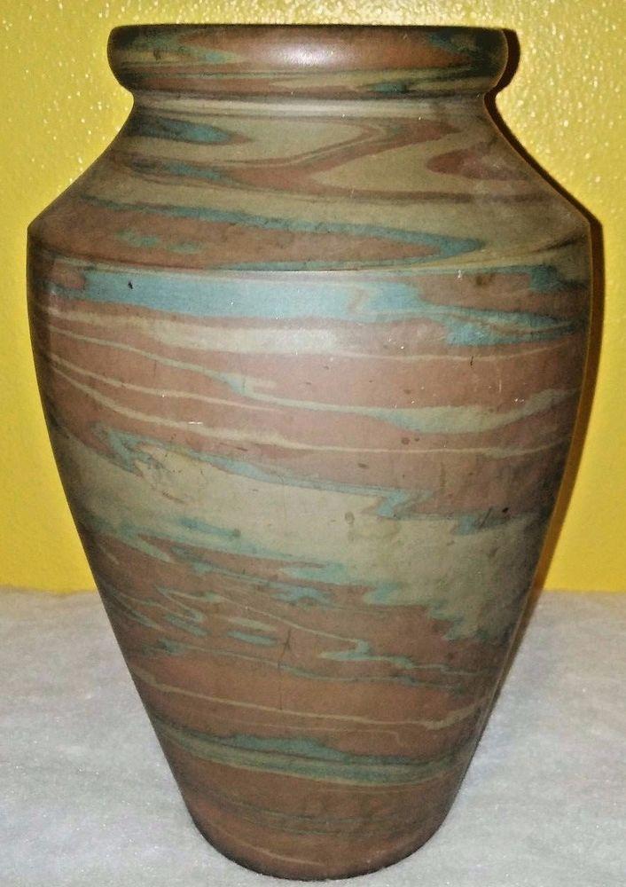 "Niloak Pottery Hyten Mission-ware Blue Brn Swirl Circa 1915 Southern 10"" vase  #ArtsCraftsMissionStyle"