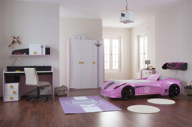 #Newjoy Vento Oda http://www.newjoy.com.tr/tr-TR/Cocuk_Odalari-p/Vento-V8-Pink-48 #oda #room #kız #kızçocuk #kızodası #pembe #araba #yatak #arabayatak #mobilya #tasarım #moda