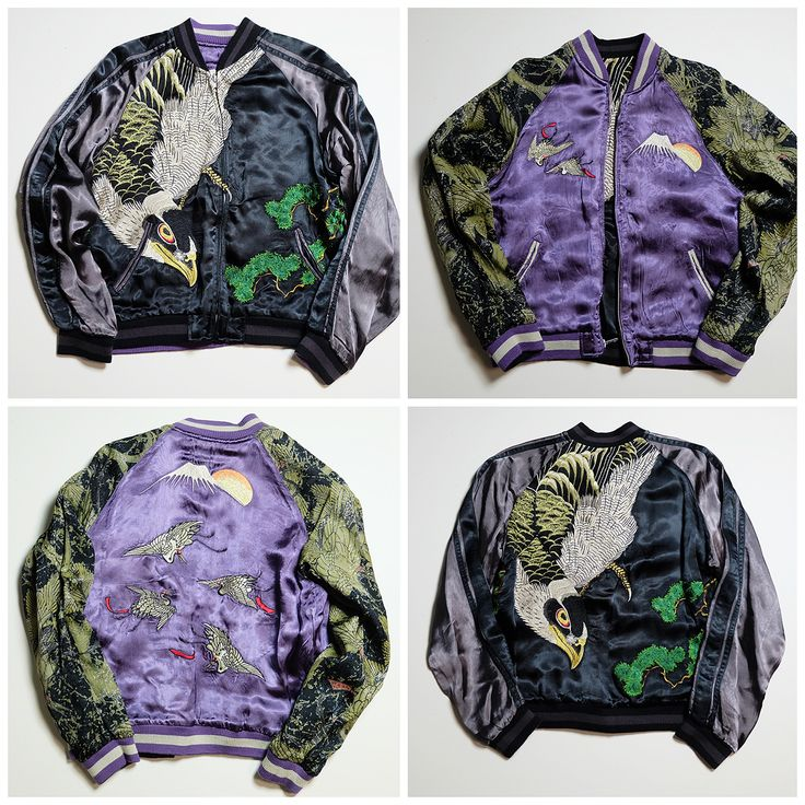 Japanese Classic Wagara SCRIPT Hawk Eagle Taka YAKUZA Mt. Fuji Fujisan Moon Souvenir Sukajan Jacket - Japan Lover Me Store