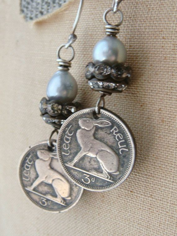 Ireland Coin Earrings 1968 Vintage Coins Irish by CobwebPalace, $31.00