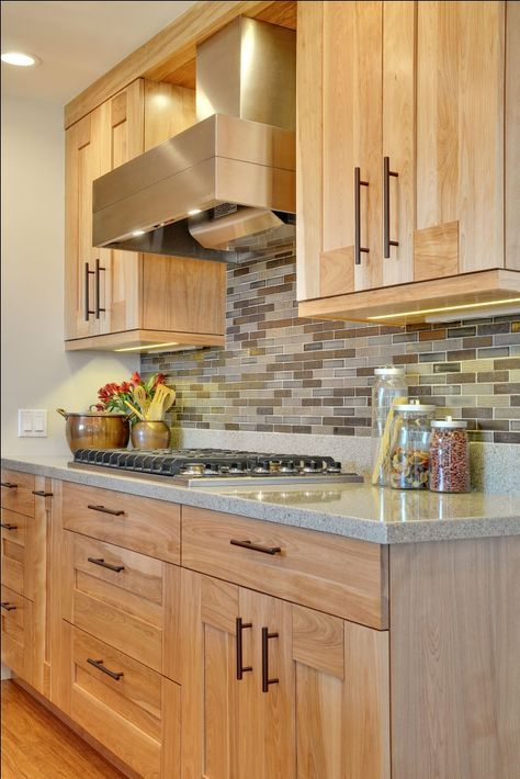 Contemporary Kitchen with Quartz Countertops and Red Birch ... on What Color Backsplash With Maple Cabinets  id=48226
