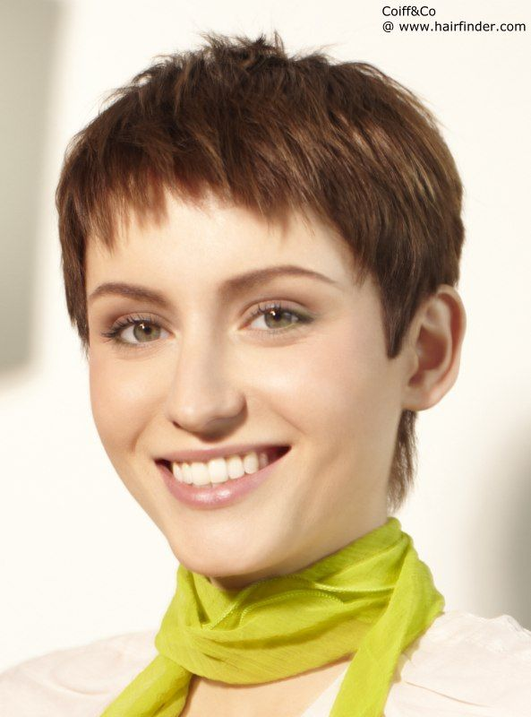 This Gamine Pixie Cut Hairstyle Is Textured With Short Choppy Layers The Razor