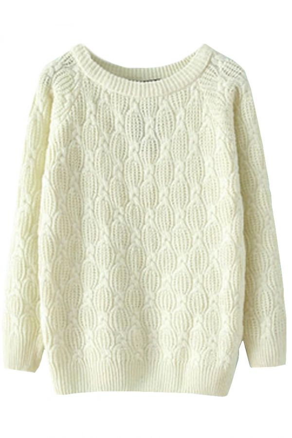 Women's Fashion Clothing #Chic Textured Solid Cable #Knit #Sweater - OASAP.com