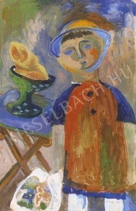 Kisfiú gyümölcskosárral, kalapban virágcsokorral,megdőlt asztal előtt