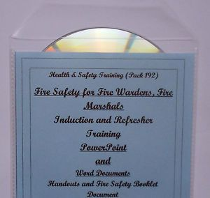 FIRE WARDEN MARSHALL MARSHAL Health and Safety Training Course Resources CD - Set out in a logical order.Well defined guidelines on roles and responsibilities, legislation, risk assessment, fire equipment and evacuation procedures etc.Suitable for initial or refresher training.