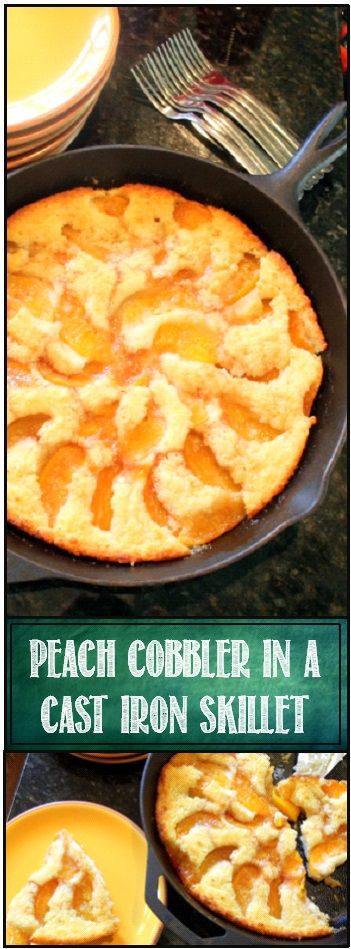 "Peach Cobbler in a Cast Iron Skillet ""Old School"" ... this is a classic ""Old School"" recipe just like your Grandma used to make.  In your best southern accent, repeat after me... ""Cuppa Cuppa Cuppa"".  That's the basic recipe for the cobbler.  Cup of Sugar, Cup of Flour, Cup of Milk.  You can use self rising flour and save adding baking powder and additional salt, but that's really the recipe.  Very old school.  very southern.  And very tasty.  AND VERY SIMPLE"