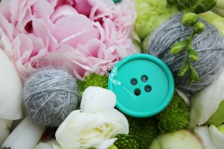 Flower with thread and button #button #peonies #pink