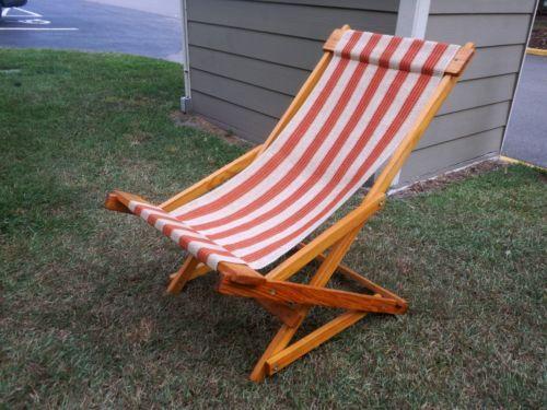 Vintage 1920 1930 S Adult Folding Wooden Wood Cloth Beach